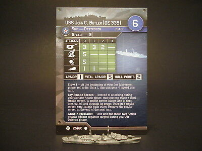 Axis and Allies War at Sea - 25/60 USS John C Butler - Destroyer (C) - USA(#36)
