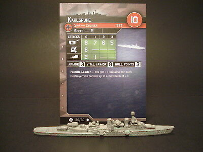 Axis and Allies War at Sea - 36/60 Karlsrule - Cruiser (UC) - GE(#37)