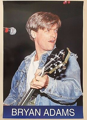 BRYAN ADAMS,PHOTO BY GRAZIA NERI ,RARE AUTHENTIC 1980's POSTER