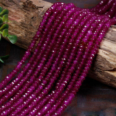 """5x8mm Natural Fuchsia Jade Faceted Rondelle Gemstone Loose Beads 15"""" AAA DIY"""