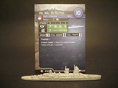 Axis and Allies War at Sea - 6/60 HR Ms DeRuyter - Cruiser (UC) - NL(#32)