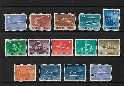 INDONESIA - mint 1964 Industry & Transport, set of 12, + 1965 surch