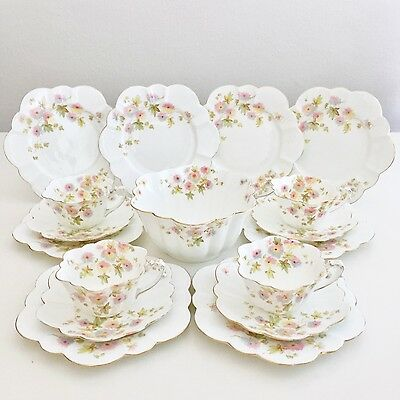 Wileman Empire shape tea set for four, polychrome Chrysanthemum 1896