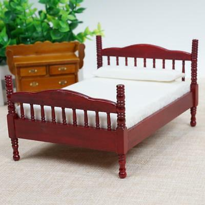 Doll House Miniature Furniture Double Red Wooden Bed in 1:12 Scale Bedroom.UK