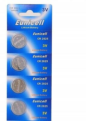 Eunicell - 4 Button Cells Lithium 3 V CR2025 New Blister Pack