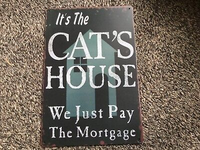 Vintage Retro Style Metal Tin Sign Poster Cats House Mortgage Cave Wall Home