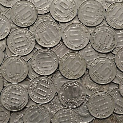 LOT OF 100 pcs 10 kopeck 1946-1957 USSR Soviet Russia coins/YEARS IN DESCRIPTION
