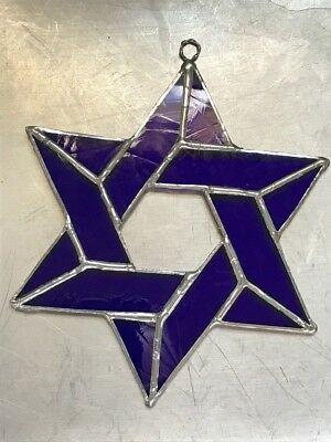 """6"""" Blue Leaded Stained Glass Sun Catcher Jewish Star of David with hook"""
