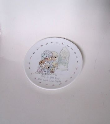 """Precious Moments 1989 Miniature 4"""" Plate  """"This Is The Day The Lord Has Made"""""""