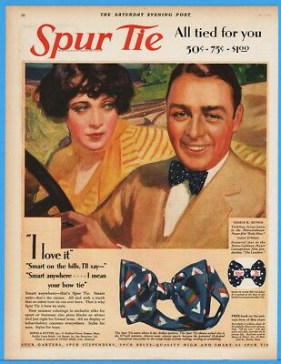 1928 Spur Tie Bow Ties George Arthur Sally Oneill MGM Lovelorn Movie Stars Ad