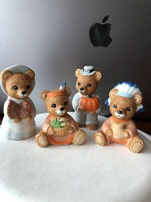 Thanksgiving homco home interior bear figurines