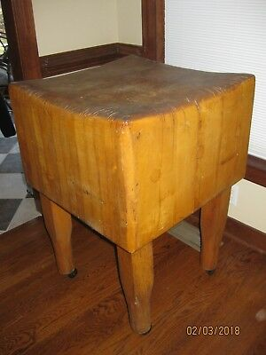 Antique butcher block chopping table with casters