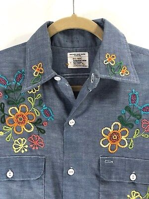 Vtg Men's 70s Floral Embroidered Chambray Shirt sz M 1970s Hippy Boho Festival