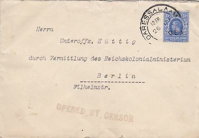 1908: East Africa and Uganda/Daressalaam G.E.A. to Berlin: Zensor