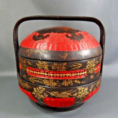 Vintage China Chinese Bakul Siah Wedding Temple Lacquer Wood 2-Tier Basket Gilt