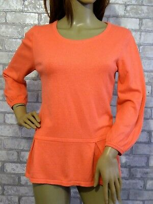 *BODEN* Ladies Peach Cashmere Cotton 3/4 Sleeve PLEAT HEM JUMPER UK12 EC rrp£80