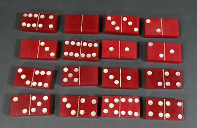 1930 German 16 Chunky Red Bakelite Dominoes Domino Game Pieces Arts Crafts 100gr