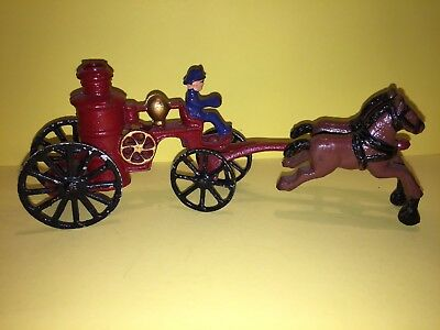Vintage Fire Fighter Cast Iron Metal Horse Drawn Carriage Buggy Wagon Rare