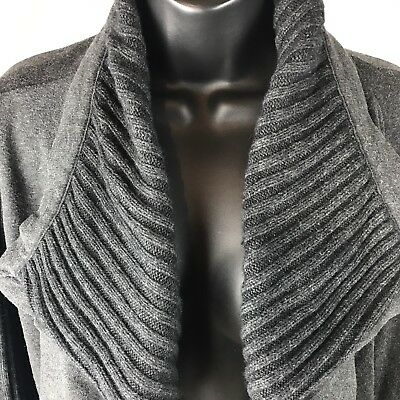 dfa7ecc68c ANN TAYLOR LOFT Sweater Wrap Cardigan Sz M Dark Gray Women s ...