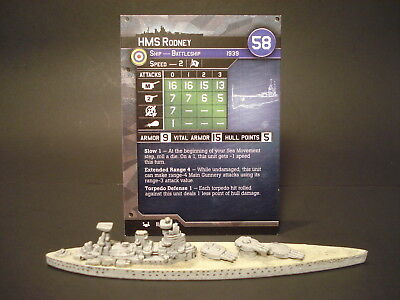 Axis and Allies War at Sea - 11/64 HMS Rodney - Battleship (Rare) - UK(#7)