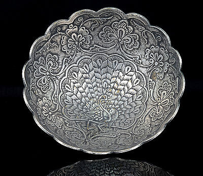 Decorative Antique Silver Peacock Crafted Design Silver Dish/Bowl.G10-59
