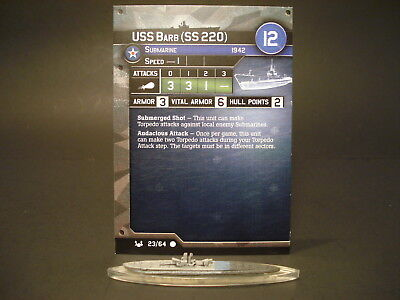 Axis and Allies War at Sea - 23/64 USS Barb - Submarine (C) - USA(#15)