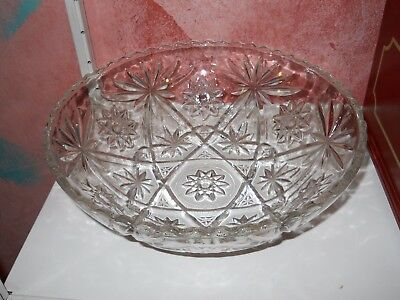 Large Heavy Duty Glass Bowl Old Cut Crystal Starburst American Dish Etched