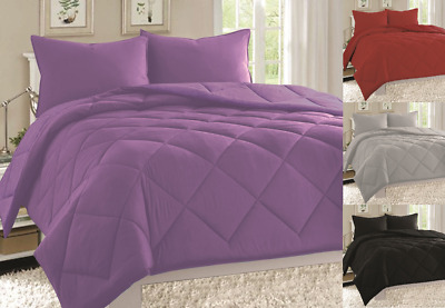 2/3Pc Solid Set Down Alternative Comforter Bed Cover Dressing Room 3 Sizes