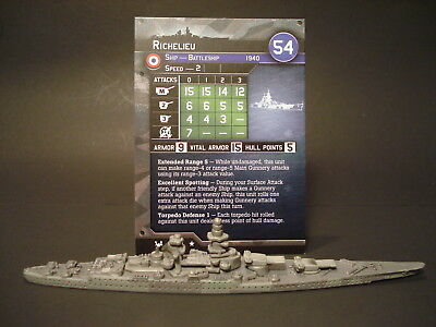 Axis and Allies War at Sea - 5/64 Richelieu - Battleship (Rare) FR(#3)