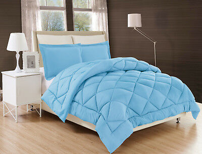 Light Blue Solid Down Alternative Comforter Diamond Stitched Bed Cover 2/3Pc Set