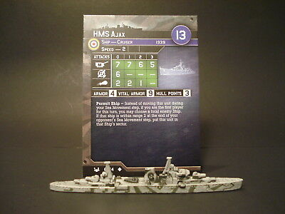 Axis and Allies War at Sea - 6/64 HMS Ajax - Cruiser (UC) - UK(#4)