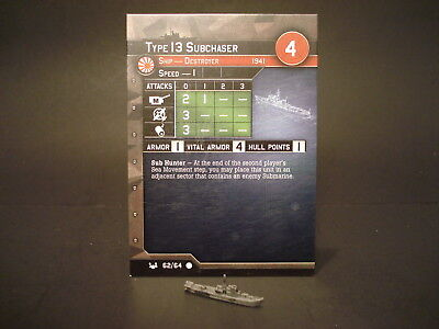 Axis and Allies War at Sea - 62/64 Type 13 Subchaser - Destroyer (C) -JP(#29)