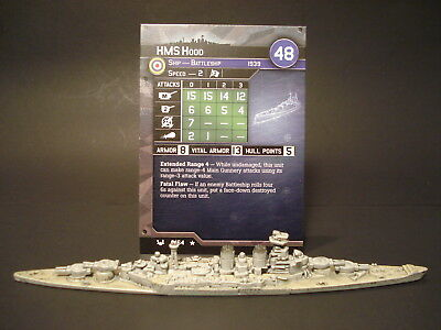 Axis and Allies War at Sea - 9/64 HMS Hood - Battleship (Rare) - UK(#5)