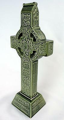 "Knock Pottery Ireland Green Ceramic Celtic Cross, 10.5"" x 4"", St. Pat's Day Gift"