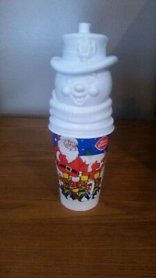 Vintage Holiday Dairy Queen Plastic Drinking Glass With A Snowman Topper
