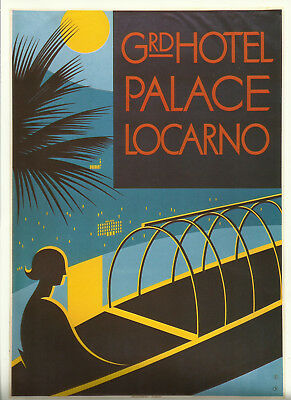 Grand Hotel Palace Locarno 1937 Plakat Poster Reproduktion 80er Charles Kuhn