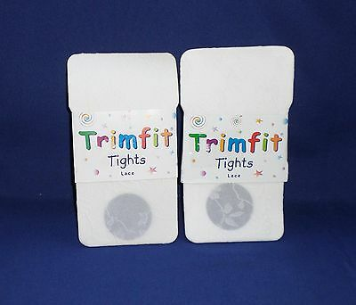 Trimfit White Floral Lace Tights Size 4-6 Two Pair NWT