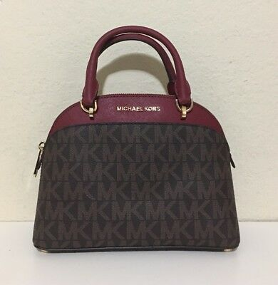 f8656b2c8e21 ... wholesale michael kors emmy small dome satchel crossbody cherry brown  78ba5 40867