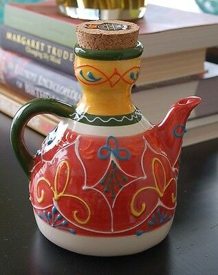 El Poyeton Made in Spain Folk Art Pottery Decorative Corked Olive Oil Bottle