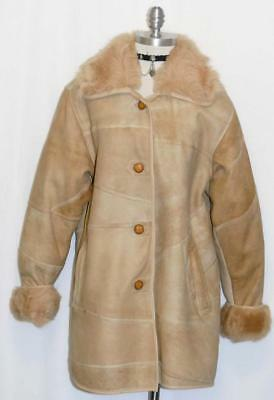 REAL ~ FOX FUR & LEATHER ~ BROWN Women German WINTER Dress Jacket Over COAT 16 L