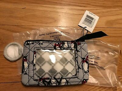 """New w/tags VERA BRADLEY ICONIC ZIP ID CASE in the  """"PENGUINS GRAY"""" PATTERN."""