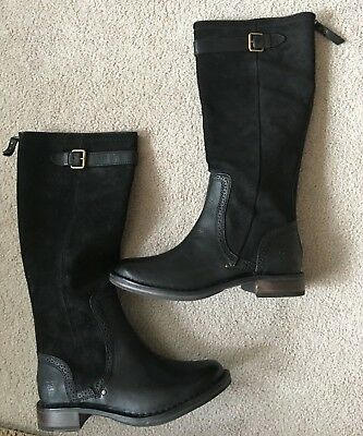 75c291b59fb *NEW* UGG AUSTRALIA Women Castille Tall Boot Black Leather & Suede US size 8