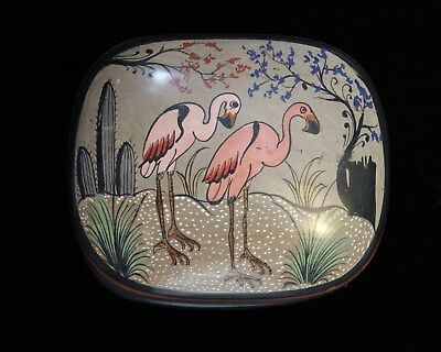 Fun Pink Flamingos & Cactus Trinket Box Tonala Pottery Mexico Folk Art Hand Made