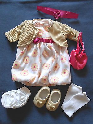 "18"" inch doll outfit clothes dress jacket purse socks shoes headband underwear"