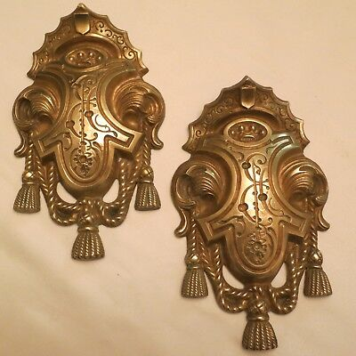 Antique french pair ormolu bronze chateau curtain tie back hooks