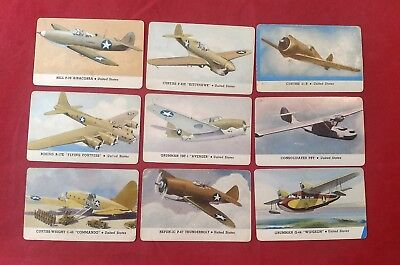 Lot of 9 WW2 U.S. Airforce Trading Card CARD-O-CHEWING GUM Series D AEROPLANES