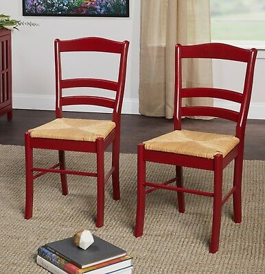 Ladder Back Chairs Antique Style Set Of 2 Dining Rush Seats Red Kitchen  Wood NEW