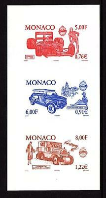 Monaco Automobiles. Set Of 3 Strips Of 3 Color Proofs With Folder Scott #2186-88