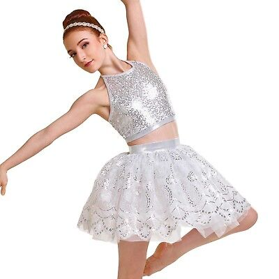 Shiver 2018 Silver Sequin Skirt 2 Piece  Lyrical Curtain Call Costume ASM