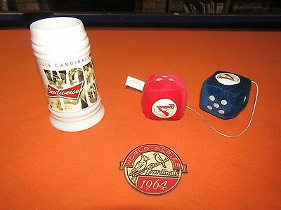 Lot of St Louis Cardinals 2011 WS mug, fuzzy dice, and 1964 World Series patch
